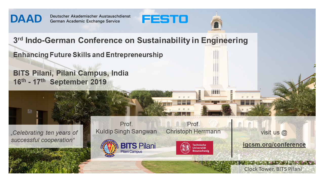 2019 | 3rd Indo-German Conference on Sustainability in Engineering